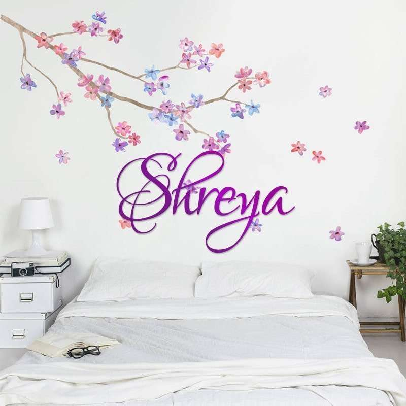 Purple Acrylic Wall Name Decal- Cursive Font