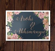 Name Plate – Floral Printed – Personalised Home Decor Gifts Online